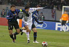 Javier Zanetti and Gerson Magrao Stock Images