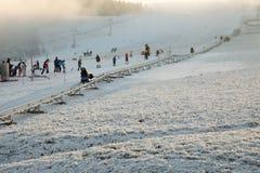 JAVORNIK, CZECH - 31 December 2016: Winter bobsled track in winter. Royalty Free Stock Image