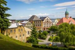 JAVORNIK - republika czech - CZERWIEC 07, 2017: Lato widok Javorn Zdjęcie Stock