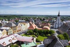 JAVORNIK - republika czech - CZERWIEC 07, 2017: Lato widok Javorn Zdjęcia Royalty Free