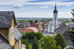 JAVORNIK - republika czech - CZERWIEC 07, 2017: Lato widok Javorn Obrazy Royalty Free