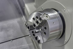 Jaw Chuck. Lathe, close-up Stock Photography