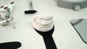 Jaw model in dental office. Clinic stock video footage