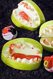 Jaw with teeth of apples Royalty Free Stock Photography