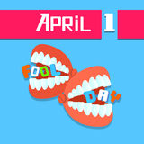 Jaw Teeth, Fool Day April Holiday Greeting Card Stock Images