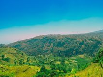 Primitif town in valley of mountain ciremai jawa barat indonesia. Jawa barat, indonesia - August 18, 2018: Landscape view of primitif town in valley mountain stock photo