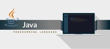 JAWA język programowania z pismo kodem na laptopu ekranie, języka programowania kodu ilustracja ilustracja wektor