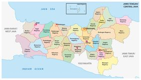 Jawa Tengah, Central Java administrative and political vector map, Indonesia.  stock illustration