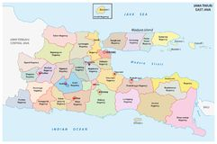Jawa Timur, East Java administrative and political vector map, Indonesia.  vector illustration