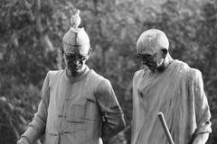 Jawahar lal尼赫鲁和甘地ji雕象 免版税图库摄影