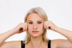 Jawlinemassage van de gezichtsoefening stock afbeeldingen