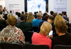 Jawna konferencja przy wystawą obraz royalty free