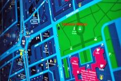 Jawna plenerowa uliczna mapa w nocy Zdjęcie Stock