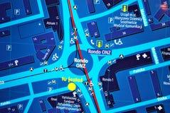 Jawna plenerowa uliczna mapa w nocy Obraz Royalty Free
