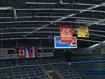 JAWNEGO dostępu wydarzenie! Chomutov, Ustecky kraj, republika czech - Styczeń 07, 2017: wnętrze nowa wielocelowa miasto arena pod Zdjęcie Stock