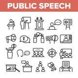 Jawnego mowa wektoru Cienkie Kreskowe ikony Ustawiać royalty ilustracja