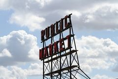 Jawnego rynku znak Seattle Obrazy Royalty Free