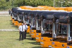 Jawnego transportu autobusów nowi kierowcy Fotografia Royalty Free