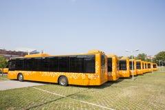 Jawnego transportu autobusów nowi plecy Zdjęcia Stock