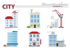 Jawny budynek. Set 3 ilustracja wektor