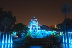 Jawny park Ciutadella nocą w mieście Barcelona fotografia stock