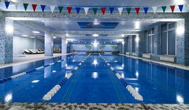 Jawny turniejowy pływackiego basenu wnętrze w sprawności fizycznej gym Obraz Stock