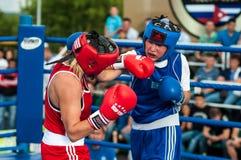 Jawny występ dziewczyn boksować Fotografia Royalty Free