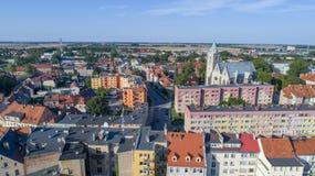 Jawor, старый городок, вид с воздуха, Польша, 08 2017, вид с воздуха Стоковая Фотография