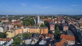 Jawor, ciudad vieja, visión aérea, Polonia, 08 2017, visión aérea imagen de archivo