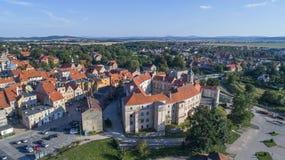 Jawor gammal stad, flyg- sikt, Polen, 08 2017 flyg- sikt Arkivbild