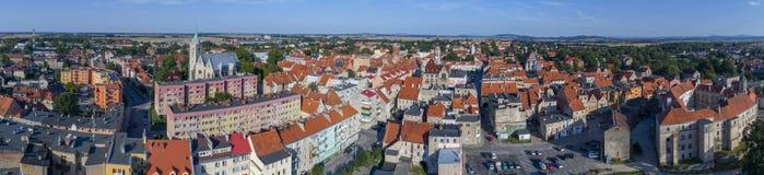 Jawor panorama, gammal stad, flyg- sikt, Polen, 08 2017 flyg- sikt Royaltyfria Bilder