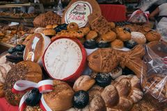 Fresh bread for sale on a festival royalty free stock photography