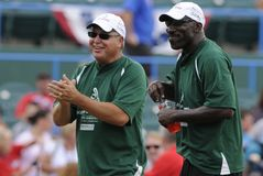 Jaworski Reese. Former Philadelphia Eagles Ron Jaworski, left and Ike Reese at the 2012 Atlantic League celebrity softball game held before the All-Star game at Stock Photos