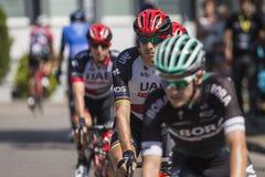 JAWORZNO POLEN - JULI 31, 2017: Cyklister i början av ten fotografering för bildbyråer