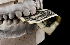 Jaws hold banknote. Isolated on black Stock Photography