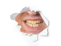 Jaws in a hole of paper Stock Image