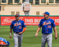 Jay Bruce & Asdrubal Cabrera New York Mets 2017. New York Mets fielders Jay Bruce and Asdrubal Cabrera walk the field during Spring training practice game in royalty free stock image