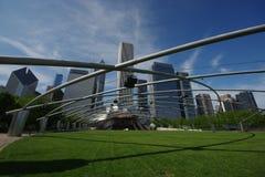 Jay Pritzker Music Pavilion es uno de los Amphitheatres al aire libre primeros en Chicago, localizado centralmente en parque del  fotografía de archivo
