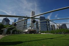 The Jay Pritzker Music Pavilion is one of the premier outdoor Amphitheatres in Chicago, located centrally in Millennium Park. stock photography