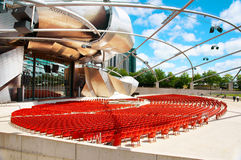 Jay Pritzker Pavilion (Chicago). Jay Pritzker Pavilion is a revolutionary space, site of outdoor concerts, designed by Frank Gehry (winner of the National Medal Stock Photos