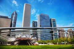 Jay Pritzker Pavilion i millenium parkerar i Chicago Fotografering för Bildbyråer