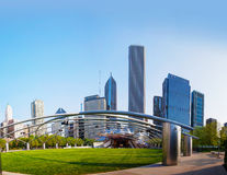 Jay Pritzker Pavilion i millenium parkerar i Chicago Arkivfoto