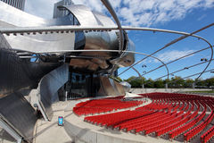 Jay Pritzker Pavilion in Millennium Park. Jay Pritzker Pavilion, also known as Pritzker Pavilion or Pritzker Music Pavilion, is a bandshell in Millennium Park in Stock Photography