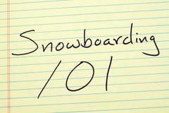 Jazda na snowboardzie 101 Na Żółtym Legalnym ochraniaczu Fotografia Stock