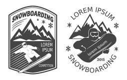Jazda na snowboardzie etykietki Fotografia Royalty Free