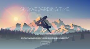 Jazda na snowboardzie sieci o temacie sztandar Zdjęcia Royalty Free