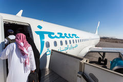 Jazeera Airways-Flugzeug in Kuwait Lizenzfreie Stockfotos