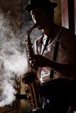 Jazz är hans liv Fotografering för Bildbyråer