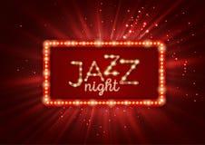 Jazz, αφίσα μουσικής μπλε, πρότυπο ιπτάμενων Στοκ εικόνα με δικαίωμα ελεύθερης χρήσης