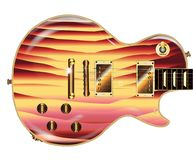 Jazz Abstract Colour Electric Guitar. A multi grained electric guitar with gold metal fittings over a white background Royalty Free Stock Images
